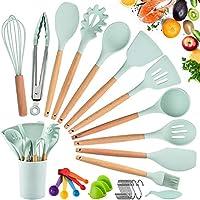 set di utensili da cucina in silicone, resistente al calore antiaderenti utensili da cucina in silicone 33 pezzi, antiaderente strumento di cottura termoresistenti professionali(verde)