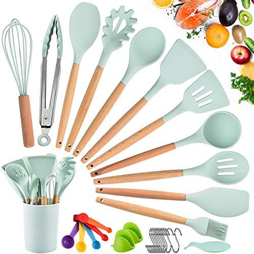 Küchenhelfer Set, Silikon-Kochgeschirr 33 Stück, hitzebeständiges Küchenset mit Holzgriffen Spachtel,Leicht zu reinigendes...