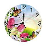 Reloj de Pared Redondo Primavera Huevos de Pascua Tulipanes Margarita Flores Mariposas Reloj de Pared Redondo Silencioso Sin tictac Funciona con Pilas Fácil de Leer Reloj Decorativo Arte