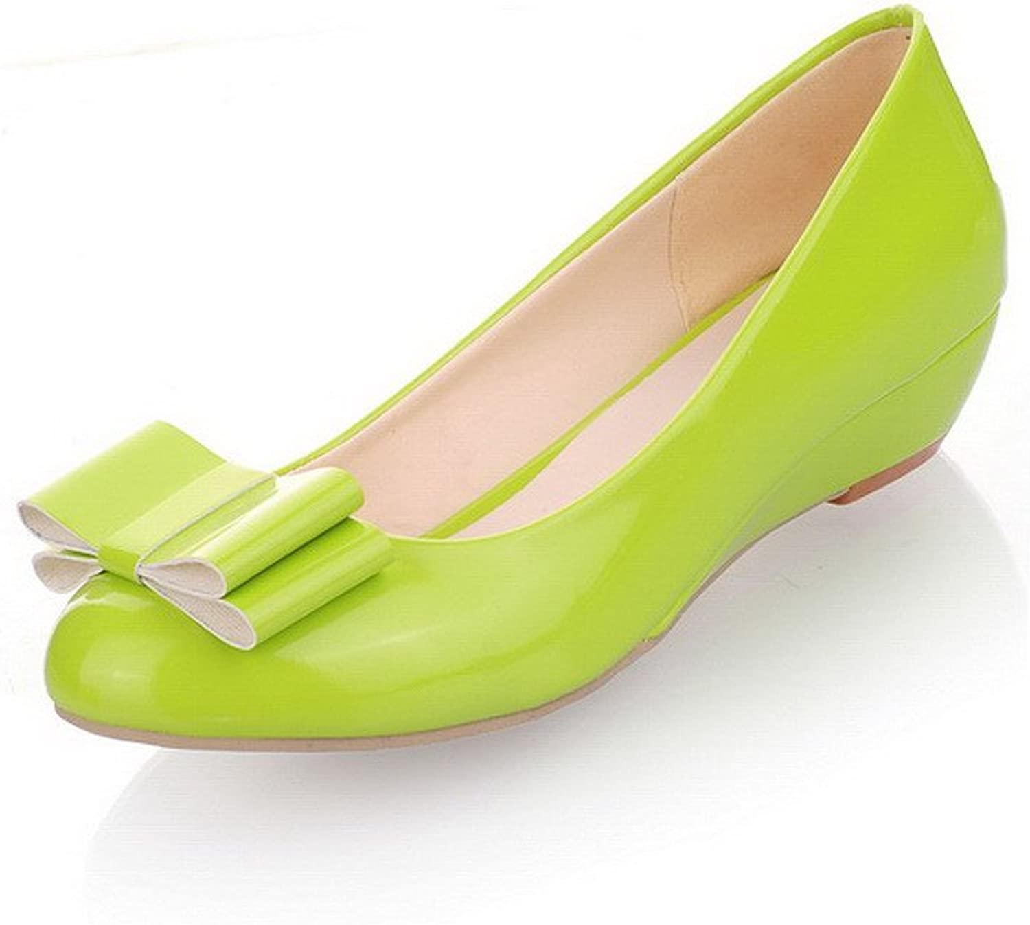 WeiPoot Womens Closed Round Toe Low Heel PU Soft Material Solid Pumps with Bowknot, Green, 7.5 B(M) US