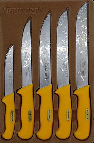 Ertex Metzgermeister Fleischermesser Metzgermesser Set in Profiqualität 5-teilig/Edelstahl (handgearbeitet)/ spezielle ergonomische Griffe/Top Qualität