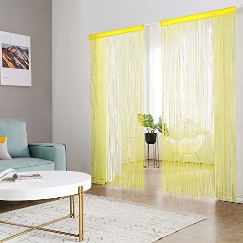 HSYLYM Pantalla de Cortinas de Cuerdas Cuentas,para decoración del hogar,poliéster,Amarillo,90x200cm