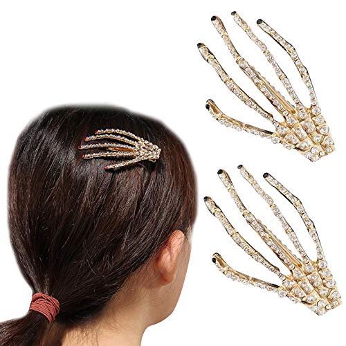 Pairs Sparkle and Shine Rhinestone Skull Ghost Claw Halloween Clips Skeleton Hands Headpiece Monster Hair Clips Bobby Pins Hair Slide Stylish Ponytail Hair Jewelry Accessories Stocking Stuffer