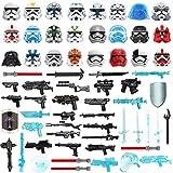 Lommer Jouets Militaire Armes Accessoires, 65 Pièces Sci-FI Kit de Armes et Casque pour Figurines Soldats SWAT Police, Compatible avec Lego Star Wars