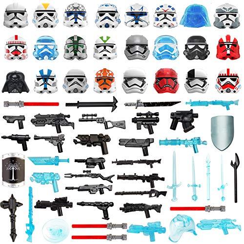 LICI Juego de 65 minifiguras militares, juego de 65 piezas a medida, casco de ciencia fi, casco y juego de accesorios con piezas de construcción Mini SWAT, compatible con Lego