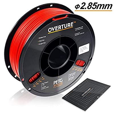 OVERTURE 2.85mm PETG Filament with 3D Build Surface 200mm × 200mm, 1kg Spool (2.2lbs), Dimensional Accuracy +/- 0.05 mm, 3D Printer Consumables Fit Most FDM Printer (Red)