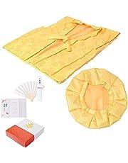 [ 京都きもの町 ] 傘寿、米寿、卒寿 頭巾、ちゃんちゃんこ、末広セット「黄色」