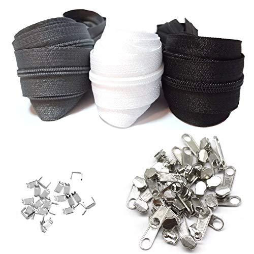 Reißverschluss endlos 5# 9m Nylon Endlosreißverschluss 3 Farben mit Zipper und Endstück, Reißverschlüsse spiralförmig Meterware teilbar, 3cm breit für Kleidung Tasche Mäppchen Bettwäsche Kopfkissen