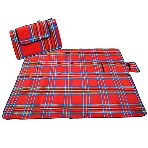 Yajun Alfombra Plegable para Acampar al Aire Libre Manta Familiar para Niños Esterilla Plegable Impermeable para Picnic de Usos Múltiples con Asa para 2-6 Personas,Red,130x150cm