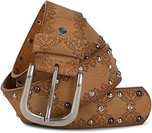 styleBREAKER bezaaide riem met etno-ornamentenpatroon, strass en balnagels in vintage ontwerp, kan worden ingekort, dames 03010061