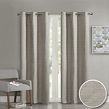 Comfort Spaces Grasscloth Grommet Window Curtain Panel for Living Room- 2 Panels - Taupe - 40x63 Inches- Foamback - Energy Efficient Saving By