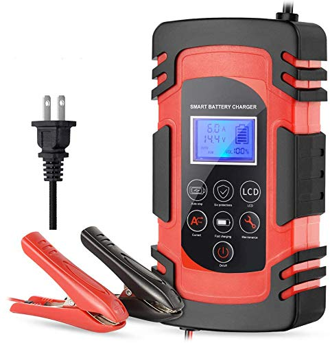Smart Car Battery Charger 12V/8A 24V/4A Compatible Automotive Smart Portable Battery Charger Maintainer/Pulse Repair Charger Pack for Car, Motorcycle, Lawn Mower and More
