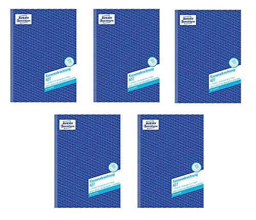 AVERY Zweckform 427 Kassenabrechnung A4 2x50 Blatt weiß/gelb (1 Stück, A4 / 5er Pack)