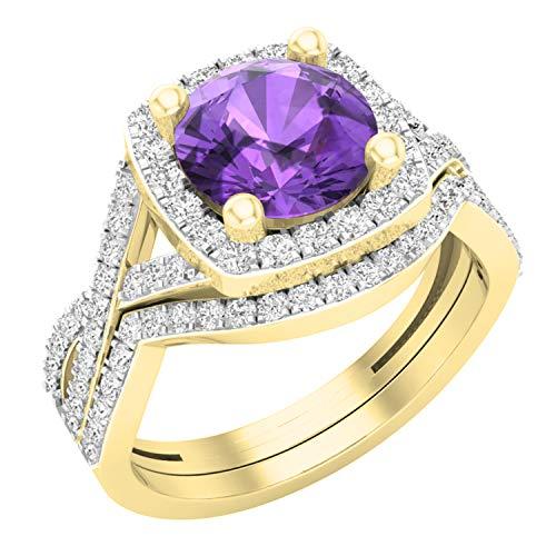 Dazzlingrock Collection - Juego de anillos de boda de 8 mm con piedras redondas y circonitas cúbicas blancas, con halo dividido, oro amarillo de 14 quilates
