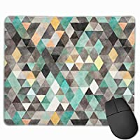 """Modern Watercolor Teal Gray Gold Triangle Pattern Mouse Pad Non-Slip Rubber Gaming Mouse Pad Rectangle Mouse Pads for Computers Desktops Laptop 9.8"""" x 11.8"""""""