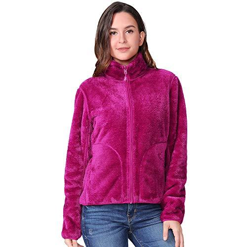 CAMEL CROWN Damen Fleecejacke mit Reißverschluss Reversibel Fleece Jacke Leichte Damen Sweatjacke Antistatische Elektrizität Damenjacke für Wandern und Freizeit Fuchsia S