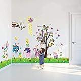 Walplus - 3 set di adesivi da parete per cameretta dei bambini: mod. DF5099 (Happy Animals...