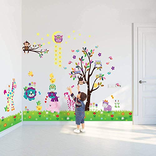 Walplus Adhesivos de pared Feliz Animales Búho Árbol Pegatinas pared vinilo decoración hogar bricolaje Living Oficina Dormitorio Decor papel pintado HABITACIÓN INFANTIL REGALO, Multicolor