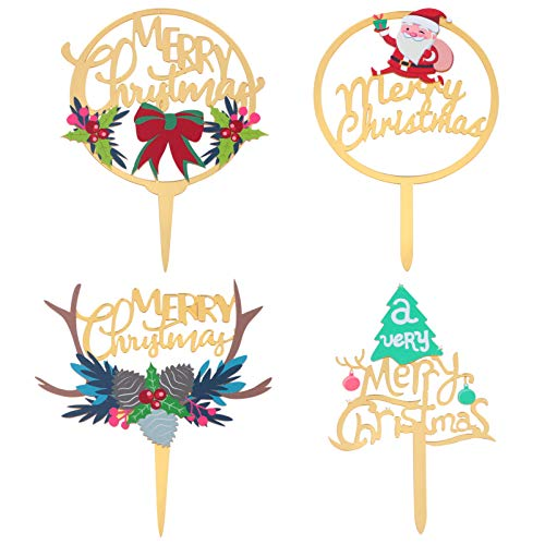 PRETYZOOM 4Pcs Merry Christmas Cake Topper Acrylic Cupcake Picks Reindeer Anlter Santa Cake Decor Fruit Dessert Picks Xmas Party Supplies for New Year Holiday
