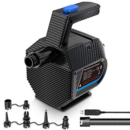EZILIF Elektrische Luftpumpe 2000mAh akku USB Luftmatratze Pump Luftdruck 6000 Pa Elektrische Pump mit 6 Luftdüse für Aufblasbare Matte, Planschbecken, Schlauchboot, Bett, Schwimmring