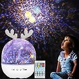 Veilleuse Enfant Étoiles Projecteur - Rotatif Starry Lampe Projection Lumière avec Musique 6 Films Minuteur 360° Rotation Galaxy Sky Lights,Cadeaux Jouets pour Bébé Fille Garçon Noël Anniversaire