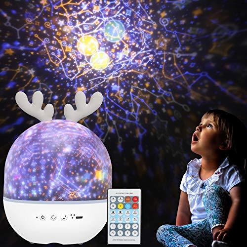 Veilleuse Enfant Étoiles Projecteur-BeMyLady Rotatif Starry Lampe Projection Lumière avec Musique 6 Films Minuteur 360° Rotation Galaxy Lights,Cadeaux Jouets pour Bébé Fille Garçon Noël Anniversaire
