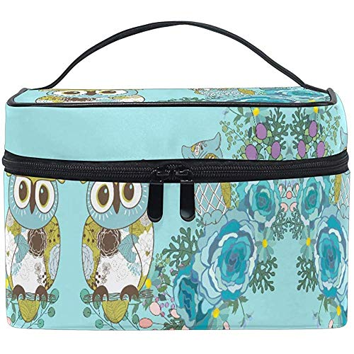 Trousse de maquillage Blue Owl Flower Travel Cosmetic Bags Organizer Train Case Toiletry Make Up Pouch