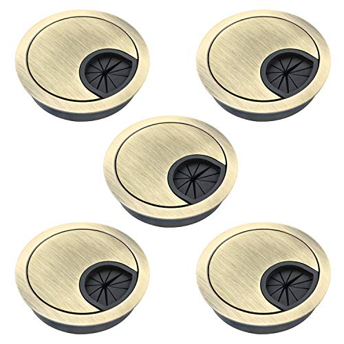 QWORK 5 Pack Desk Grommet Satin Nickel Desk Cord Cable Hole Cover Grommet for Home and Office, Fits 2inch Hole, Bronze