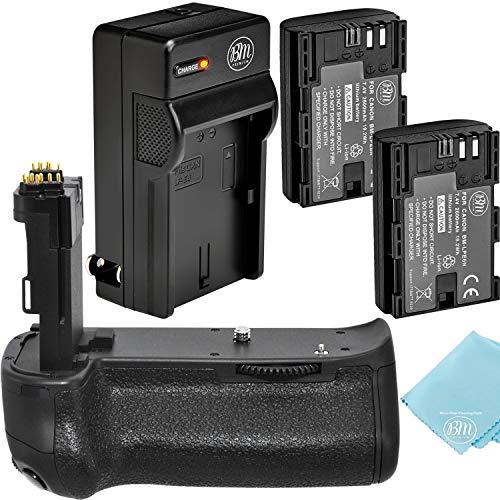 Battery Grip Kit for Canon EOS 70D, EOS 80D, EOS 90D Digital SLR Camera Includes BG-E14 Replacement Battery Grip + Qty 2 BM Premium LP-E6N Batteries + Rapid AC/DC Charger