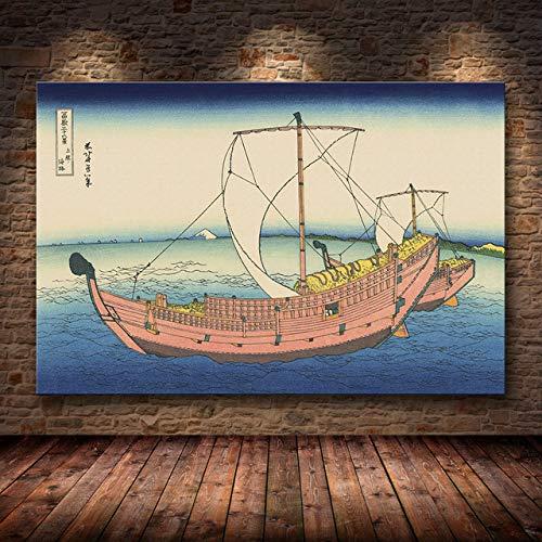 mmzki Katsushika Hokusai Great Wave Off Kanagawa Lienzo Carteles Arte de la Pared Impresiones Pintura Cuadros Decorativos Decoración de la Sala de Estar