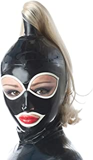 Latex Rubber Big Eyes Hoods Single Ponytail Wigs Masks 0.4MM