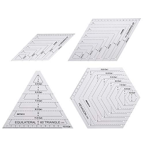 Moligin - Juego de plantillas para acolchar cuadrículas, juego de reglas de costura para manualidades, suministros de dibujo con 45 60 grados, triangular, plantilla de acolchado hexagonal de 4 piezas,