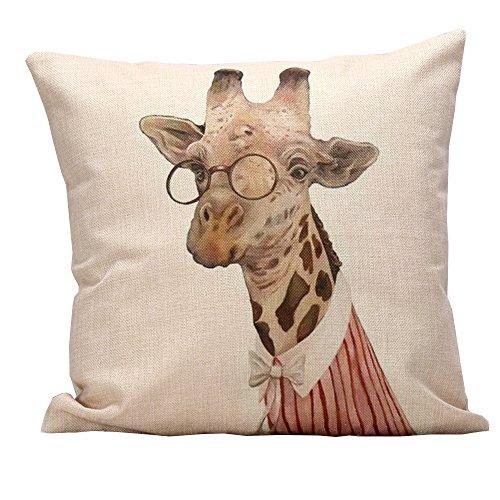 iHome Kussensloop Decoratieve Case Dier, katoen linnen, ruimte 45 x 45 cm, Vrouw Giraffe met leesbril (Roze)