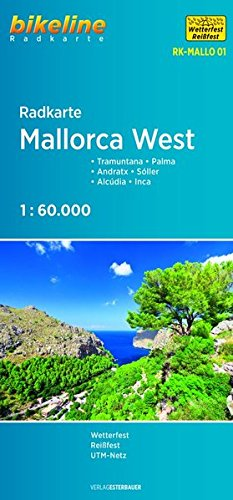 Radkarte Mallorca West: Tramuntana - Palma - Andratx - Sóller - Alcúdia - Inca 1:60 000