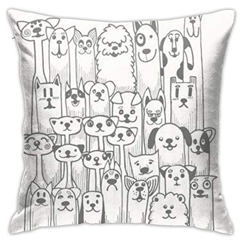 Hand Drawn Doodle Funny Dogs iti Pillowcase, Double-Sided Printing, Hidden Zip Pillowcase, 18inch18inch Beautiful Printed Pattern Pillowcase