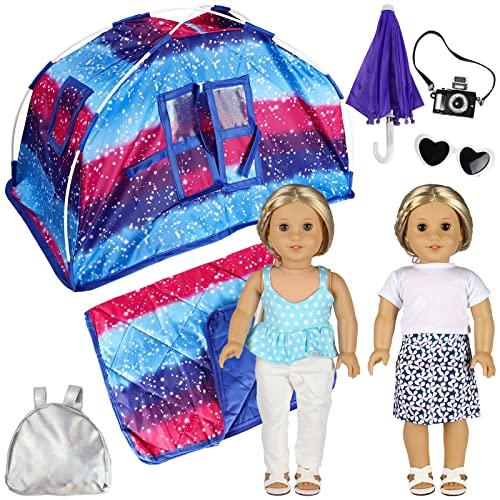 SOTOGO Juego de 9 tiendas de campaña para muñecas americanas de 45,7 cm, incluye tienda de campaña, saco de dormir, ropa, paraguas, cámara de juguetes, mochila, gafas de sol y zapatos, estilo divertido