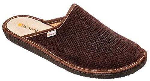 Bosaco Pantofole Ciabatte Uomo Casa Pantofola Ciabatta Suola Di Memoria (40 EU, Perforato Marrone Scuro)