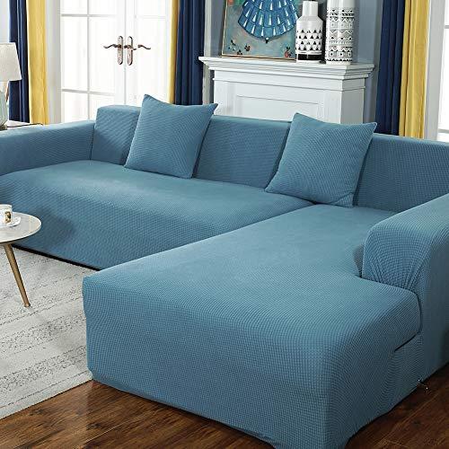 DANODA Sofabezug Verdicken Plüsch l Form Ecksofa Sofa Spannbezug Stretch Sofabezug Set für 1-5 Sitzer Sofa(Wenn Ihr Sofa für L-Form Ecksofa ist, müssen Sie Zwei kaufen),Blau,5Sitzer:305~360cm