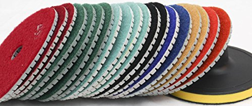 "Diamond Polishing Pads 5"" inch Wet/Dry Set of 12+1 Backer Grit 30 Pad Best Value Granite Concrete Marble Glass Terrazzo Lapidary fits secco Stadea SPTA hardin damo wet polisher dewalt grinder"