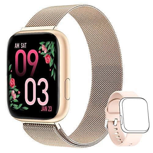 AIMIUVEI Smartwatch Mujer, Reloj Inteligente Mujer con 1.4 Inch Táctil Completa con Pulsómetro, Presión Arterial, Notificaciones Inteligentes, Podómetro, Reloj inteligente IP67 para Android iOS Oro