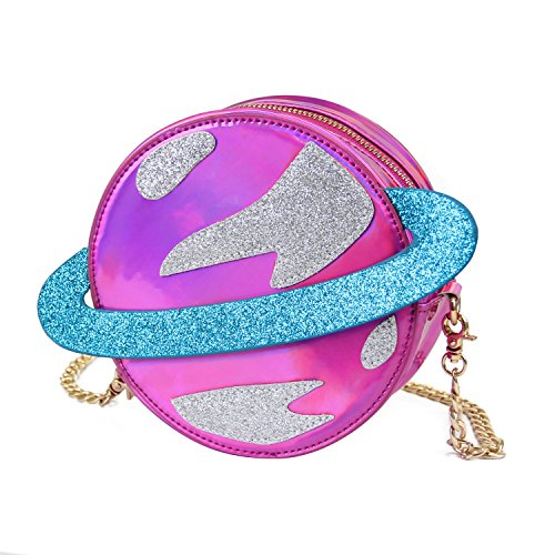 LUI SUI-Stunning Parent-child Circular planet party bag women laser planet orbit shoulder bag C54 (Parent, Purple)