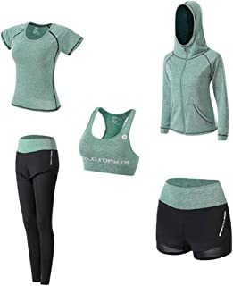 Youth Union Women's 5pcs Yoga Suit, Sport Suits Activewear Set Fitness Running Athletic Tracksuits