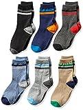 Jefferies Socks Boys' Big Multi Stripe Crew Socks 6 Pack, Medium