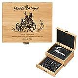Murrano Weinöffner-Set personalisiert Weinset Sommelier Set - Geschenkbox Holzbox + 8er Weinzubehörset - aus Bambus - Braun - Geschenk Hochzeit Hochzeitstag Paar - Liebespaar