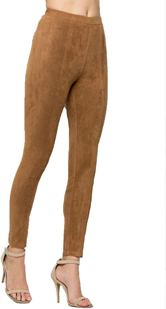 yu chang Women Mid Waist Suede Leggings Seamless Soft Stretch Slim Pants Sexy Trousers