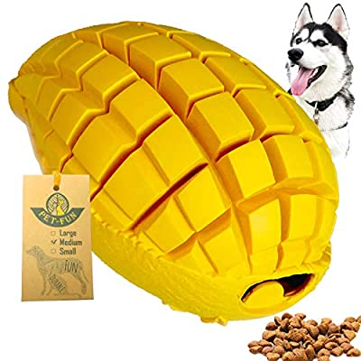 Pet-Fun Medium Mango - Safe Fun Durable Rubber Dog Chew Toy for Boredom, Virtually Indestructible Treat Dispenser, Long-Lasting Slow Feeder, Tough Strong Teething Toy for Medium/Small Dogs