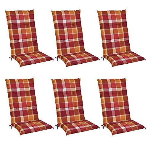 Beautissu 6er Set Sunny RO Hochlehner Auflagen Set für Gartenstühle 120x50 cm Polster in Rot Kariert - Bequeme Gartenstuhl Stuhlkissen Polsterauflagen mit UV-Lichtecht