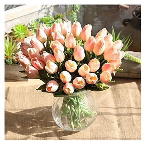 XIAOXUANMY Künstliche Blumen 10Pcs Tulpen Künstliche Blumen PU Real Touch Künstliche Bouquet Gefälschte Blumen (Farbe : Open Champagne Tulip)