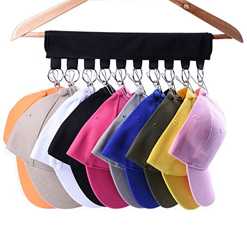 LEKUSHA Cap Organizer Hanger, 10 Baseball Cap Holder, Hat Organizer for Closet - Change Your Cloth Hanger to Cap Organizer Hanger - Keep Your Hats Cleaner Than a Hat Rack