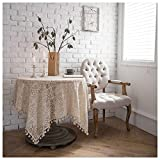 SimidunEUR Vintage Handgefertigte Tischdecke Häkel-Baumwolltischdecke, floral, Spitze-Deckchen, für Hochzeit, Dekoration,Beige,140 * 180 cm